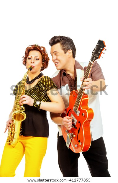 Guitarist Saxophonist Duo Style 60s Rocknroll Stock Photo (Edit Now
