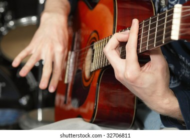 guitarist,focus on a foreground