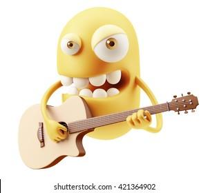 Guitarrist Singer Emoji Cartoon. 3d Rendering.