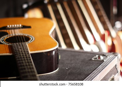 Guitars inside a recording studio.