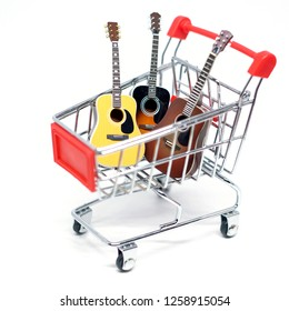 Guitars on a shopping trolley for New Year's gifts.