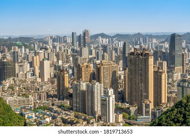 Guiyang city landscape, Modern tall buildings and bridge,