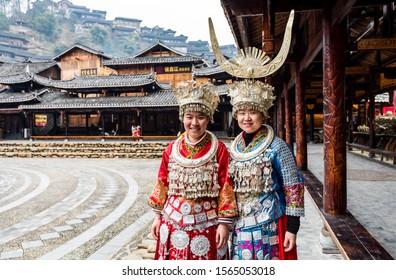 Guizhou, China, Jan 21, 2019, Chines Miao women wearing traditional clothes in Xijiang Qianhu Miao Village (One Thousand Household Miao Village) , in Guizhou province of China.