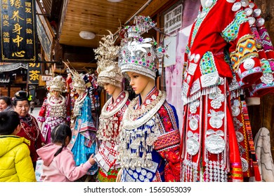 Guizhou, China, Jan 21, 2019, Traditional clothes on mannequins in the clothes shops of Xijiang Qianhu Miao Village (One Thousand Household Miao Village) , in Guizhou province of China.
