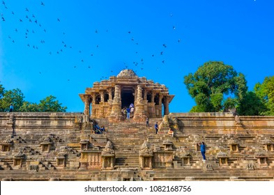 GUJARAT, INDIA - DECEMBER 04, 2016: Visitors at Sun Temple, Modhera. The Sun Temple is a Hindu temple dedicated to the solar deity Surya near Mehsana.