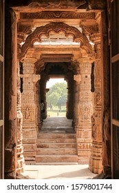 GUJARAT, INDIA - DECEMBER 12, 2019: Several miniature shrines and niches along the Stepped well in Modhera Sun Temple complex, which is located at Mehsana district, Gujarat, India