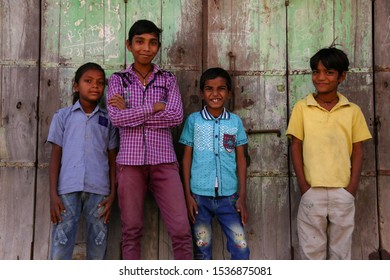 Gujarat / India - December 30 2015: Indians in a village in India
