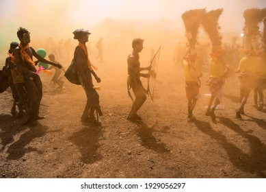 GUJARAT - INDIA - March 14, 2017: Rathva tribal people in traditional dress take participation in annual tribal Holi festival, Kawant village near Vadodara.