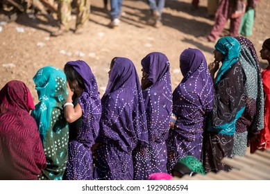 GUJARAT - INDIA - March 14, 2017: Rathva tribal women in traditional dress take participation in annual tribal Holi festival, Kawant village near Vadodara.