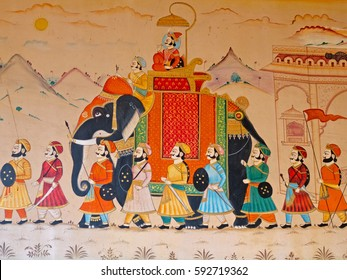 GUJARAT, INDIA - OCTOBER 27, 2016: Wall art displaying the characteristic level of detail shown by traditional Indian miniature painting