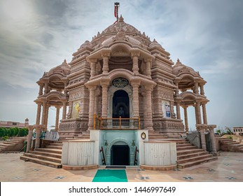 Gujarat: July 2019: Beautiful view of a Jain temple near Shankeshwar (Ahmedabad) - India.