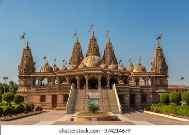 Gujarati state, India - January 20th 2016 - A hindu temple with a blue sky in the back ground in Gujarati state in India, Asia