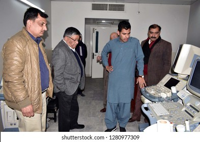 GUJRANWALA, PAKISTAN - JAN 10: Head of Fair MEC (Japan) being briefed by the officials during his inspection visit of Siddique Sadiq Memorial Trust Hospital on January 10, 2019 in Gujranwala.