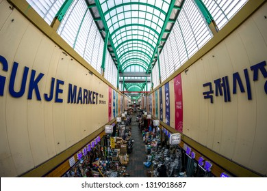 Gukje Market or International market located in nampodong district in Busan, South Korea. Many shops and stores line up the street. Taken on February 14th 2019