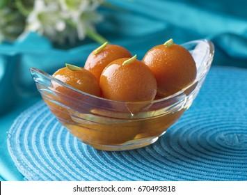 Gulab Jaman in beautiful crystal bowl