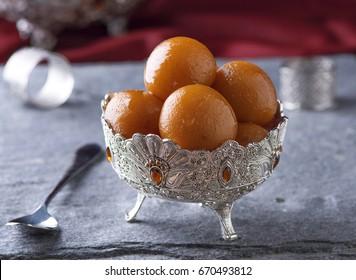 Gulab Jaman in silver antique bowl