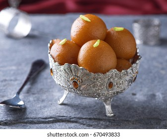 Gulab Jaman in silver antique bowl