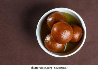 Gulab Jamun, Indian Dessert or Sweet Dish in bowl.