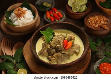 Gulai Kambing. Traditional Javanese mutton curry soup.