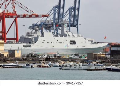 GULF OF ADEN, DJIBOUTI FEBRUARY 06, 2016: Chinese warship in the port of Djibouti