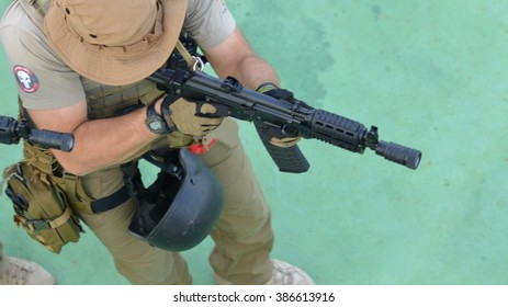 GULF OF ADEN / INDIAN OCEAN - FEBRUARY 16, 2015 - Ship security guards