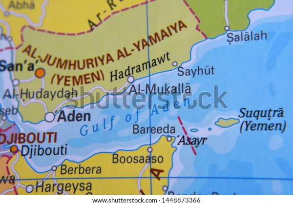 Gulf Aden Located On Map Stock Photo (Edit Now) 1448873366