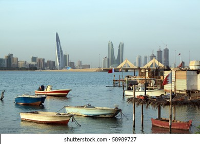 Gulf with boats in Manama city, Bahrein