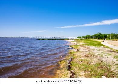 Gulf coast beach in Ocean Springs, Mississippi.