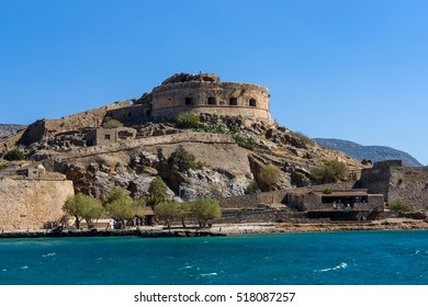 Gulf of Elounda. The island of Spinalonga and the ancient fortress of the same name. Crete. Greece.