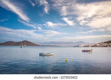 The gulf of Elounda at sunset, Crete, Greece
