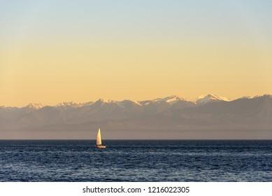 Gulf Islands Sailing during sunset, British Columbia. Sailing in the Gulf Islands of British Columbia near Victoria
