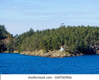 Gulf Islands as seen from the ferry between Vancouver Island and British Columbia mainland in the Straight of Georgia (Salish Sea)