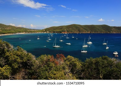 Gulf of Lacona, Elba island, Italy, with boats and seascape and sunny weather
