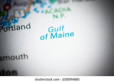 Gulf of Maine. USA on a map.