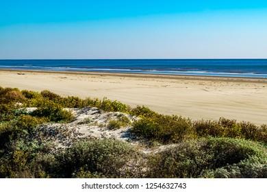 Gulf of Mexico beach at Galveston, Texas near the San Luis Pass