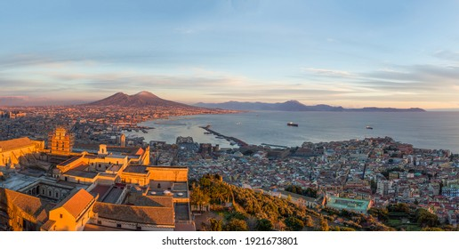 Gulf of Naples and Mount Vesuvius from the top of the Sant Elmo castle