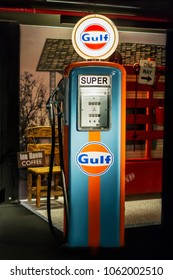 Gulf Oil company illuminated sign in traditional orange and blue colors on vintage filling station on exhibition in Baku, Azerbaijan - april, 12, 2017