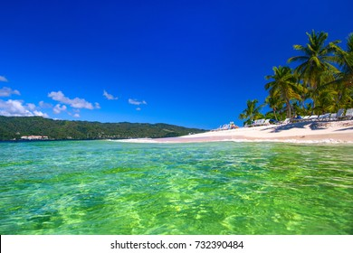 The Gulf of Samana, Dominican Republic. Transparent, turquoise water of the beach of the island of Cayo Levantado