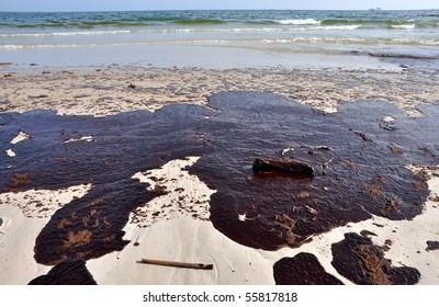 GULF SHORES, ALABAMA - JUNE 12: Gulf oil spill is shown on a beach on June 12, 2010 in Gulf Shores, Alabama.