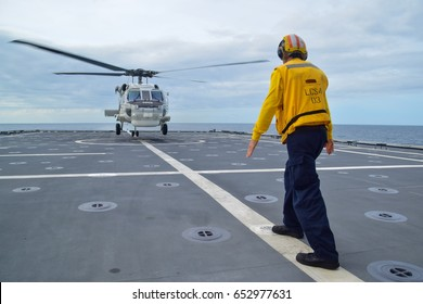 Gulf of Thailand- 2 JUNE 2017 :Royal Thai Navy helicopter landing on USS Coronado in CARAT 2017 exercise.