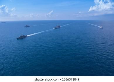 GULF OF THAILAND -30 APRIL 2019 : Thai navy ship HTMS Bhumipol Adulyadej ,HTMS Rattanakosin and Australian navy ship HMAS Parramatta ,HMAS Sirius training in AUSTHAI 2019 exercise.