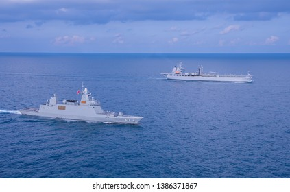 GULF OF THAILAND -30 APRIL 2019 : Thai navy ship HTMS Bhumipol Adulyadej and Australian navy ship HMAS Sirius training in AUSTHAI 2019 exercise.