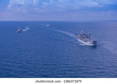 GULF OF THAILAND -30 APRIL 2019 : Thai navy ship HTMS Bhumipol Adulyadej ,HTMS Rattanakosin and Australian navy ship HMAS Sirius training in AUSTHAI 2019 exercise.
