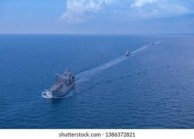 GULF OF THAILAND -30 APRIL 2019 : Australian navy ship HMAS Parramatta ,HMAS Sirius training in AUSTHAI 2019 exercise.