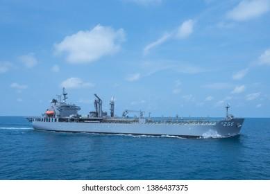 GULF OF THAILAND -30 APRIL 2019 : Australian navy ship HMAS Sirius training in AUSTHAI 2019 exercise.