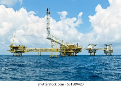 Gulf of Thailand -April 7, 2017-Chevron Thailand Offshore Industry oil and gas production petroleum pipeline.