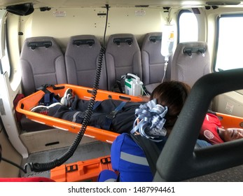 Gulf of Thailand, Thailand - August 26,2019 : Offshore Helicopter Emergency Medical offshore helicopter medical evacuation. Transport patient from offshore to land or emergency aeromedical evacuation.