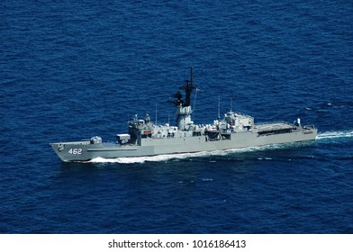 GULF OF THAILAND , CIRCA DECEMBER, 2009 : HTMS Phutthaloetla Naphalai (FF 462) former USS Ouelett (FF1077) Knox class guided missile frigate of Royal Thai Navy patrol for illegal activity at sea.