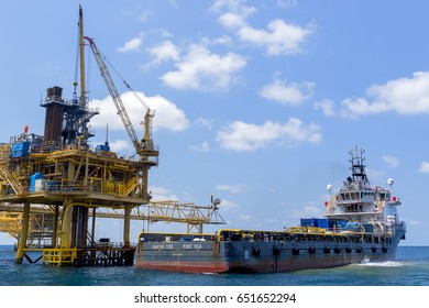 Gulf of Thailand -March 11, 2017 -Chevron Thailand Offshore Industry oil and gas production petroleum pipeline.
