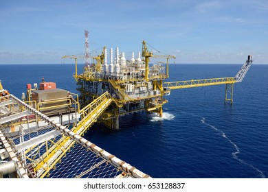 GULF OF THAILAND, THAILAND - MAY 04, 2017 : The offshore oil rig in the gulf of Thailand.
